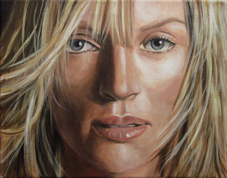 Uma Thurman, Portrait Kunst, Malerei Ölgemälde Painting
