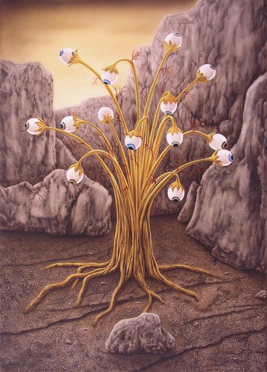 Golden Tree, Baum mit Augen, Airbrush Fantasy Bild Kunst Malerei Gemälde Painting surrealistsich