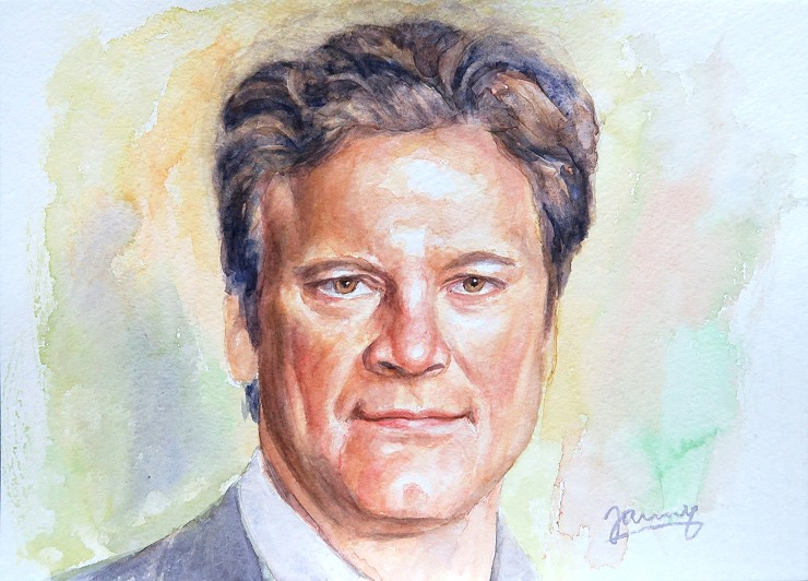 Colin Firth Aquarell Kunst Malerei Portrait