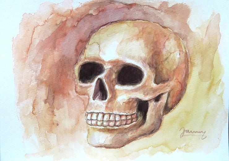 Skull Aquarell Kunst Malerei, Totenkopf Schädel Painting