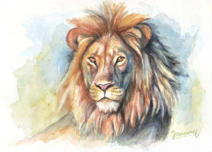 Löwe, Aquarell Kunst Malerei