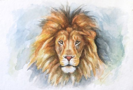Lion, Aquarell Löwe
