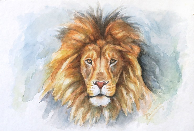 Lion, Aquarell Löwe