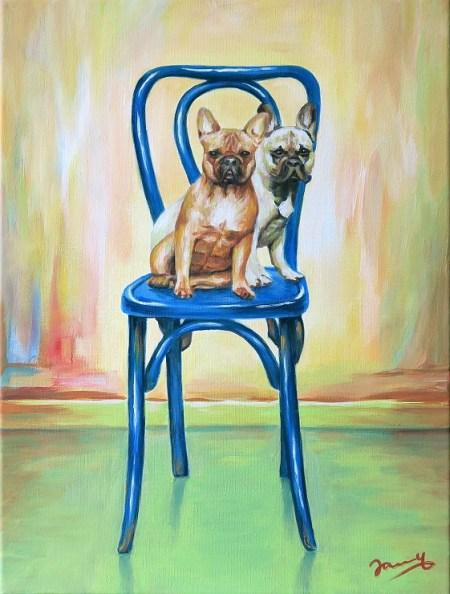 Besetzt - Sitzende Hunde auf dem Stuhl, Gemälde