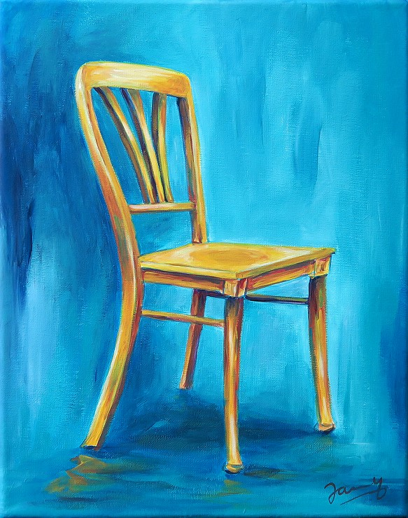 Gelber Stuhl Moderne Kunst Acrylbild Gemälde Malerei