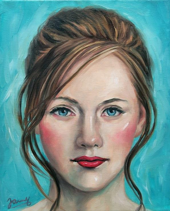 sarah Portrait Kunst Malerei Ölgemälde Painting auf Leinwand