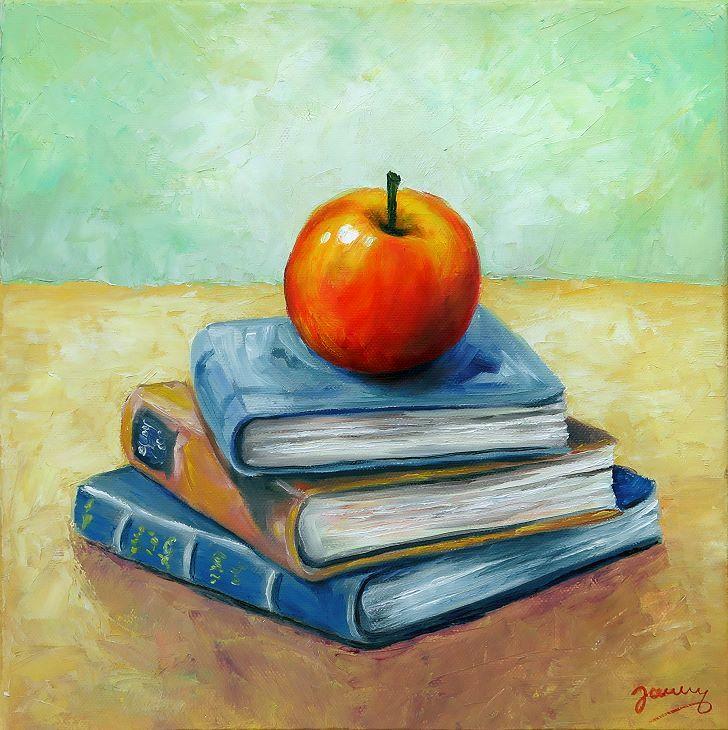 Bücher mit Apfel, Kunst Malerei Ölgemälde