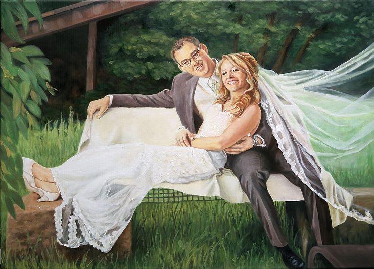 Hochzeit Ölgemälde Portrait vom Foto Kunst, Foto als Gemälde