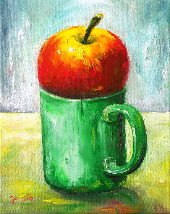 Apfel Malerei Stillleben Ölbild Moderne Kunst Gemälde