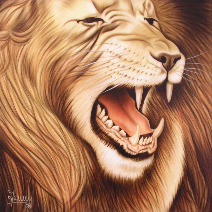 Löwe Gemälde Kunst Airbrush Bild Leinwand
