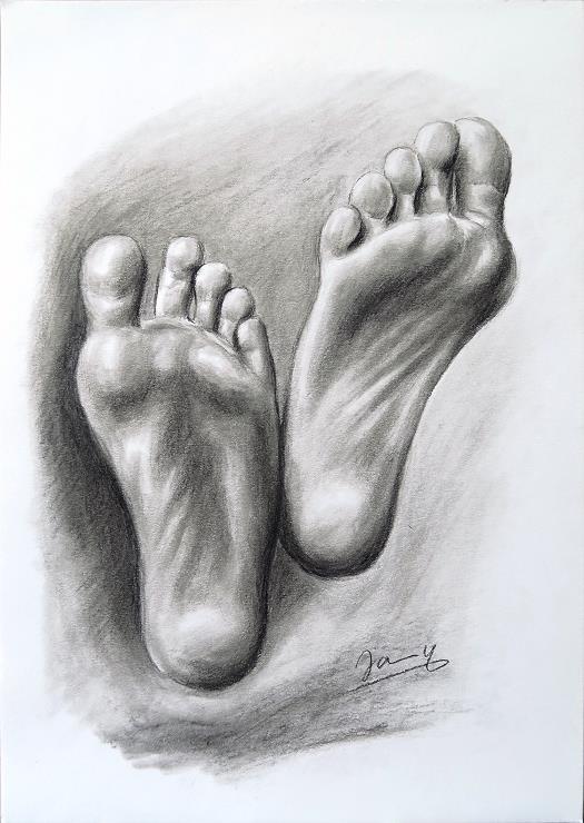 Füße Kohlezeichnung Kunst Malerei