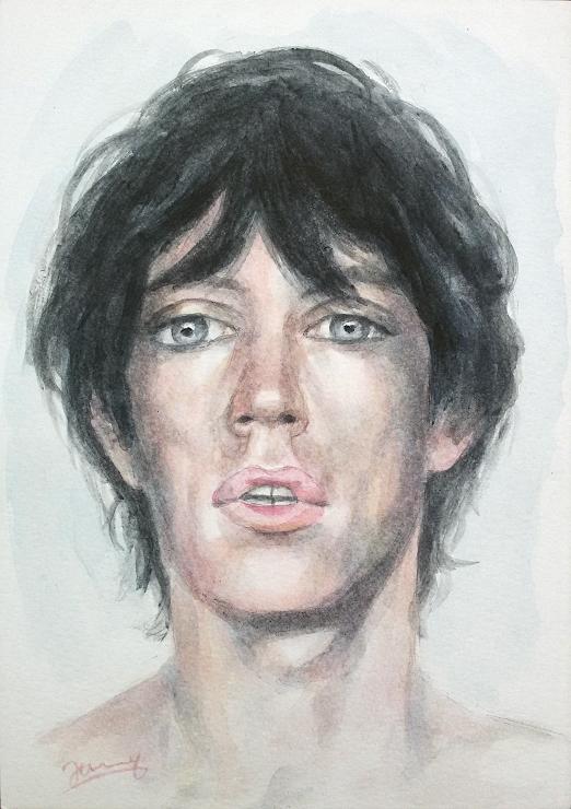 Mick Jagger 1973 Aquarell Portrait Fanart