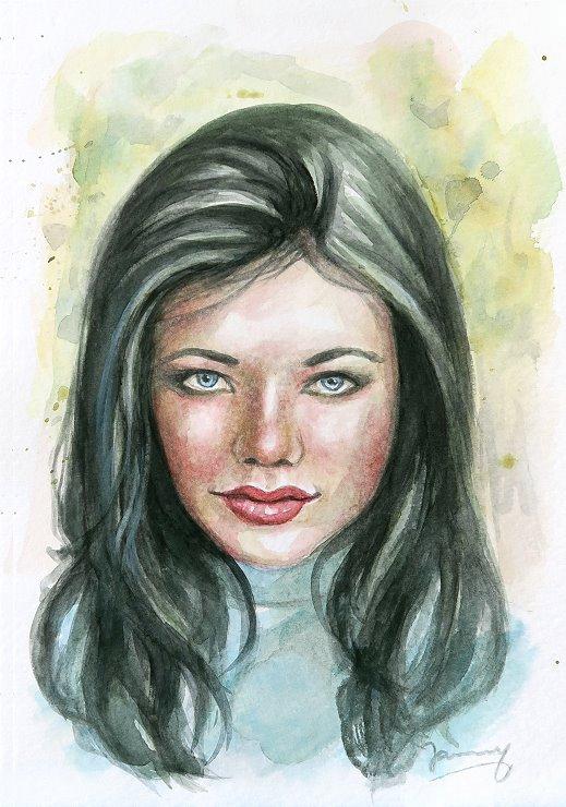 Girl, Portrait Aquarell malerei kunst