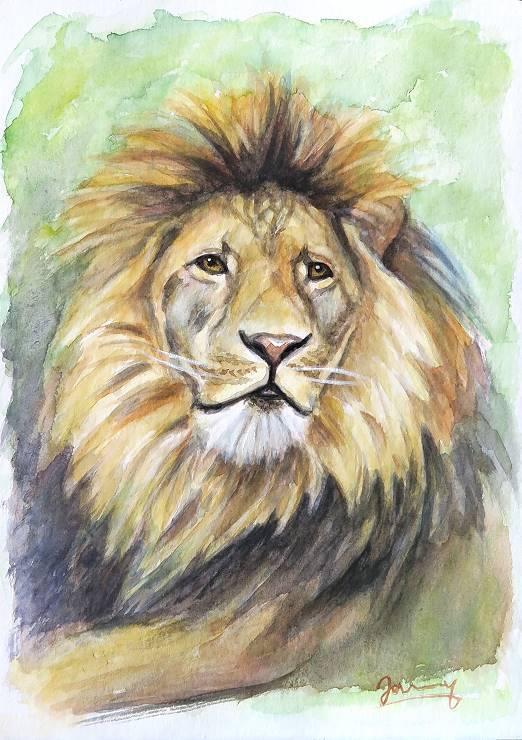 Löwe 6 Aquarell malerei kunst