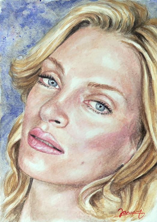 Uma Thurman Portrait Aquarell malerei kunst