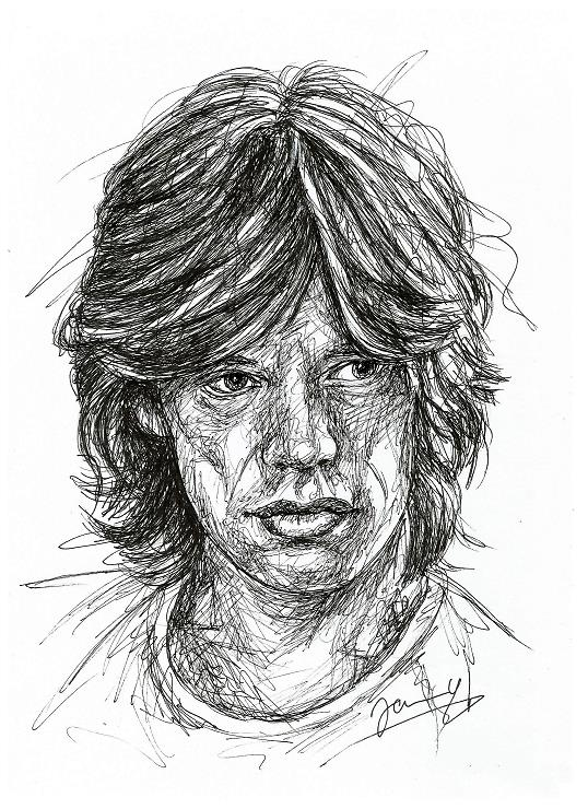 Mick Jagger Rolling Stones Scribble Portrait