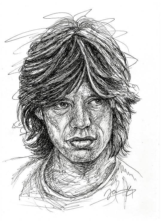 Mick Jagger Scribble Portrait 1972