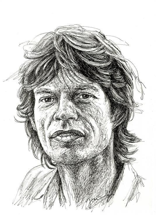 Mick Jagger Portrait 1982 Rolling Stones Zeichnung Scribble Art