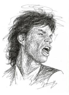 Mick Jagger 1987 Scribble Zeichnung Kunst