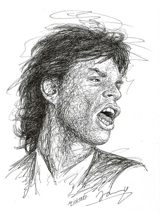 Mick Jagger 1987 Scribble Portrait