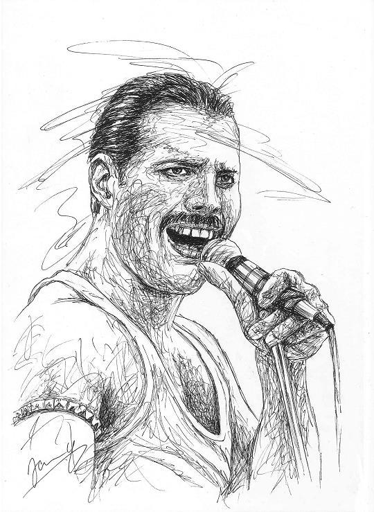 Freddie Mercury Zeichnung Queen Sänger Scribble Art Portrait Kunst