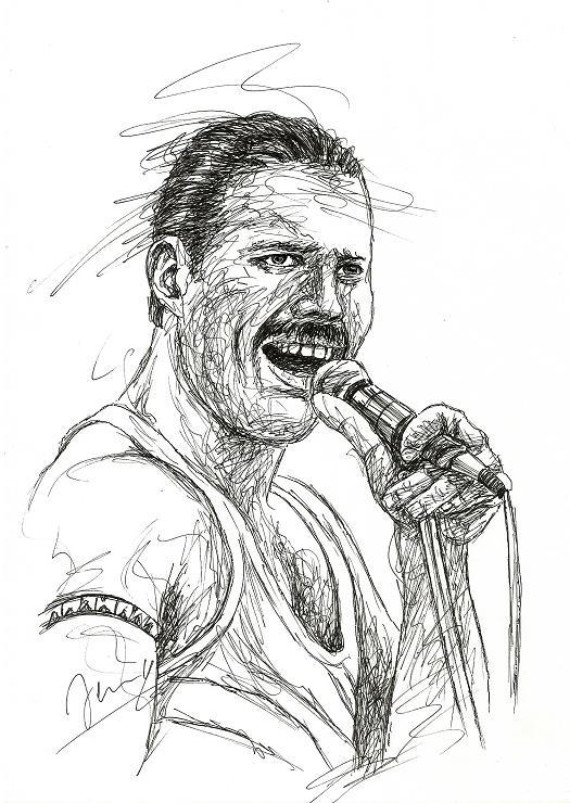 Freddie 2(a) Queen Sänger Scribble Portrait Kunst Zeichnung