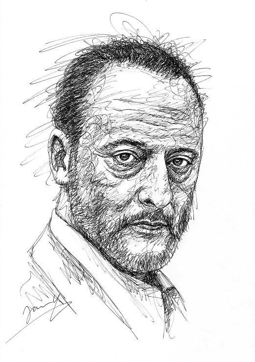Jean Reno Portrait Zeichnung Scribble Art