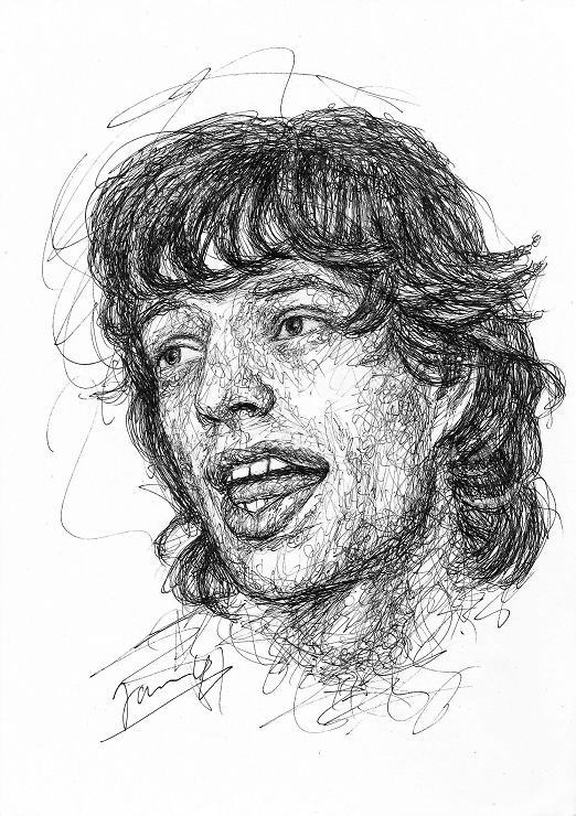 Mick Jagger Zeichnung Scribble Portrait Rolling Stones Kunst