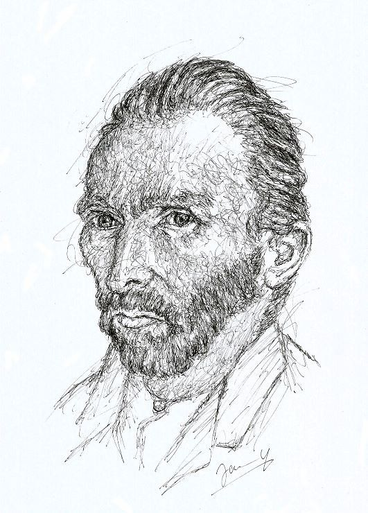 Vincent Van Gogh Portrait Zeichnung Scribble Kunst