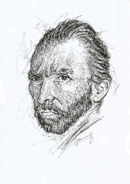 Vincent Van Gogh Portrait Zeichnung käuflich Scribble Kunst