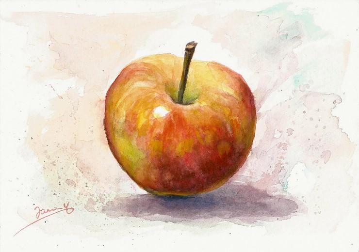 Apfel Bild Aquarell Malerei Watercolor Stillleben Moderne Kunst von Janny Cierpka