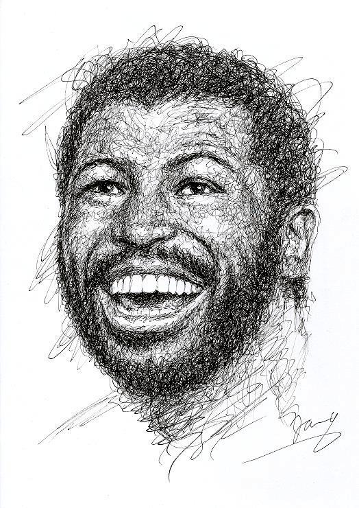 Teddy Pendergrass scribble art portrait zeichnung