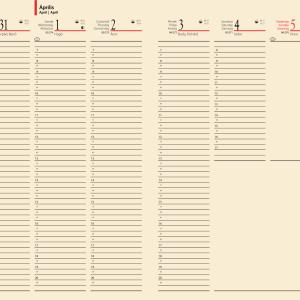 Chamois papíros heti beosztású naptárak. Chamois papíros napi beosztású naptárak, tárgyalási napló.