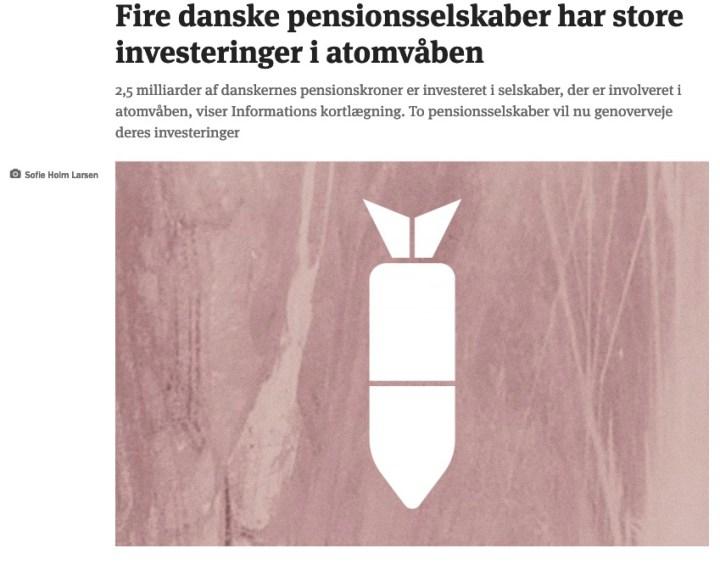 Fire danske pensionsselskaber har store investeringer i atomvåben