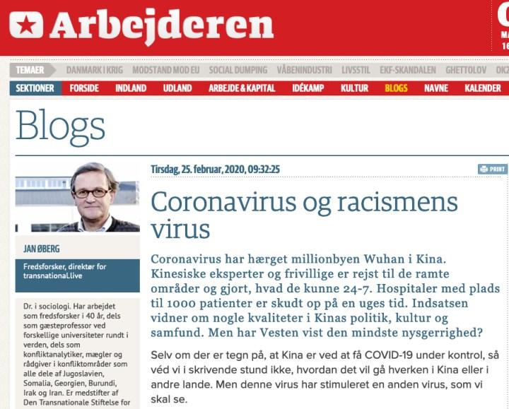 Coronavirus og racismens virus