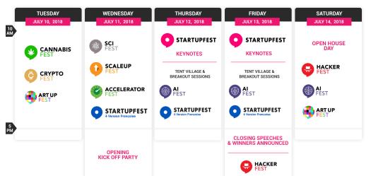 Big picture schedule Montreal Startupfest 2018