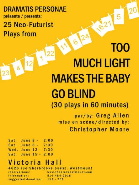 Too Much Light Makes the Baby Go Blind - Dramatis Personae Spring 2019 Official Poster