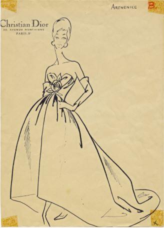 Arthenice original Dior sketch Helmer Joseph Project Photo McCord Museum archives