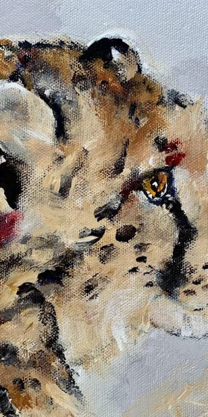 Impressionist painting of cheetah cub