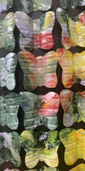 rhenosterbos recycled plastic water bottle butterflies abstract art