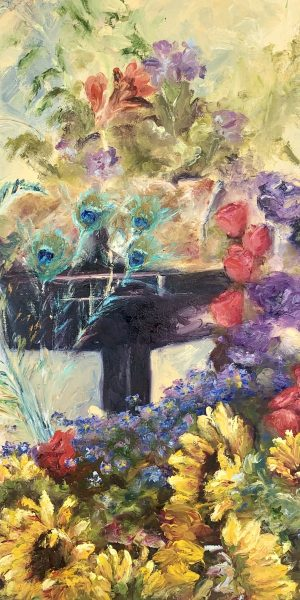 flowers peacock feathers floral art impressionism