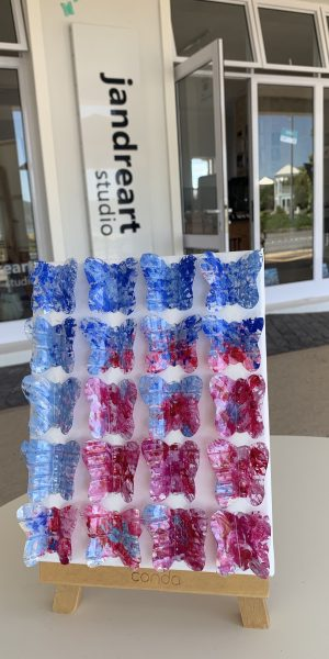 recycled plastic water bottle art sustainable art butterflies