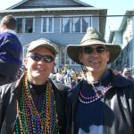 """Charles and Chris, with his pathetic collection of beads. """"Charles outgrabbed me,"""" he said."""