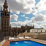 Rooftop pool at EME Fusion Hotel in Seville