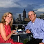 My husband and I on the Glenn Hotel rooftop during the travelgirl anniversary party.