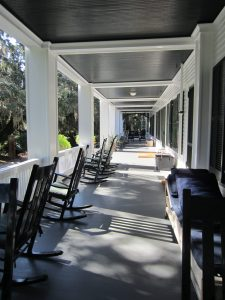 The charming porch at Greyfield Inn on Cumberland Island, off the coast of Georgia.