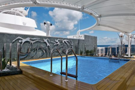 The private pool for MSC Yacht Club guests on the MSC Divina