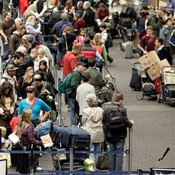 long lines of people who don't have Global entry card