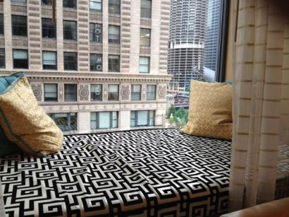 This window seat at the Hotel Monaco in Chicago is one of my favorite hotel features ever.