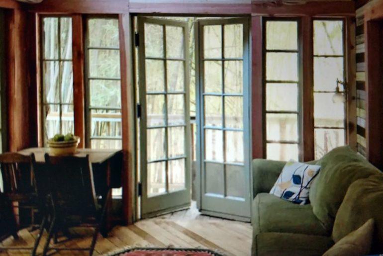 Bamboo treehouse interior